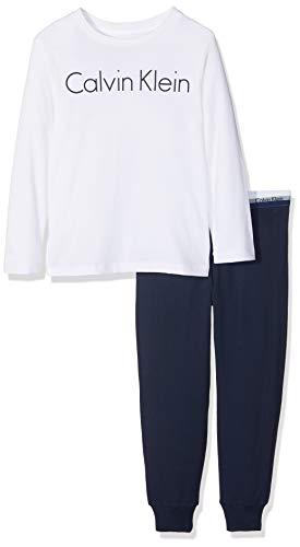 Calvin Klein Jungen Knit PJ Set (LS+Cuffed) Zweiteiliger Schlafanzug, Weiß (1White/1Blueshadow 118), 152 (Herstellergröße: 10-12) -