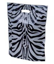 Dalbags - confezione da pz 50 zebra design fashion sacchetti di plastica con manici modello asola formato 30x40 cm