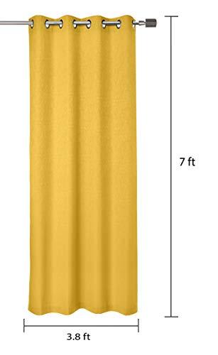 Amazon Brand - Solimo Magnolia Door Curtain, 7 feet - Set of 2 (Spanish Yellow)