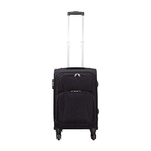 Trendyshop365 - Nylon Reisekoffer Trolley - Malaga Weichschalenkoffer 42 Liter Volumen - Koffer Schwarz Weichschale in S