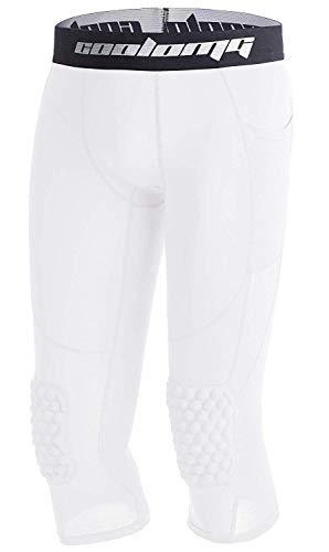 COOLOMG Basketball Hose mit Knieschoner für Kinder 3/4 Kompression Tights Leggings gepolstert Caprihose Weiß L
