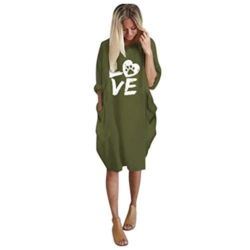 UFACE Damen Kleider Winter Kleid Damen Winter Kleid Grün Lang Damen Kleider Festlich Kleid Damen Langarm Kleid Grün Mädchen Damen Kleider Lang Kleid Damen Braun Kleid Grün Damen Langarm