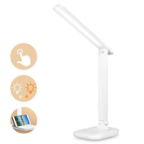 Lámpara de Escritorio LED, Lámparas de Mesa USB Regulable, [5 Niveles de Brillo, 3 Modos, Función...