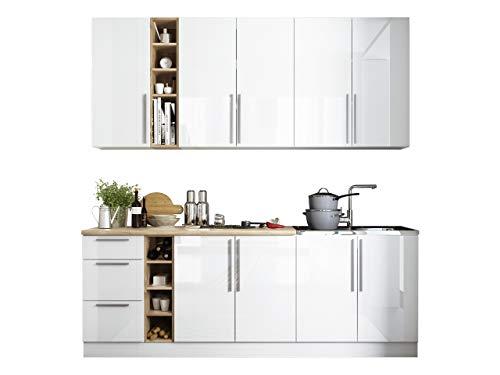 Mirjan24  Küche Harmony 220 cm, mit Arbeitsplatte, Küchenblock/Küchenzeile, 8 Schrank-Module frei kombinierbar, Günstig und Schnell (weiß/Eiche Sonoma + weiß Hochglanz + Eiche Sonoma)