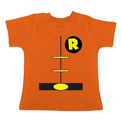 Karneval und Fasching Baby - Superheld Kostüm Kind - 1-3 Monate - Orange - BZ02 - Baby T-Shirt (Baby Superheld Kostüm)