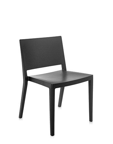 Kartell Lizz Mat Silla, Plástico, Negro, 50x74.5x83 cm, 2 Unidades