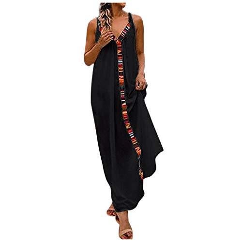 Damen Kleider Sommer V-Ausschnitt Strandkleider Einfarbig A-Linie Kleid Boho Elegant Ärmellos Lose Langer Abschnitt Party Kleid Sonojie