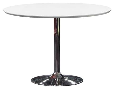 Tenzo 3220-001 TEQUILA Designer Table ronde Panneaux MDF/Acier Blanc/Chrome 110 x 110 x 74,5 cm