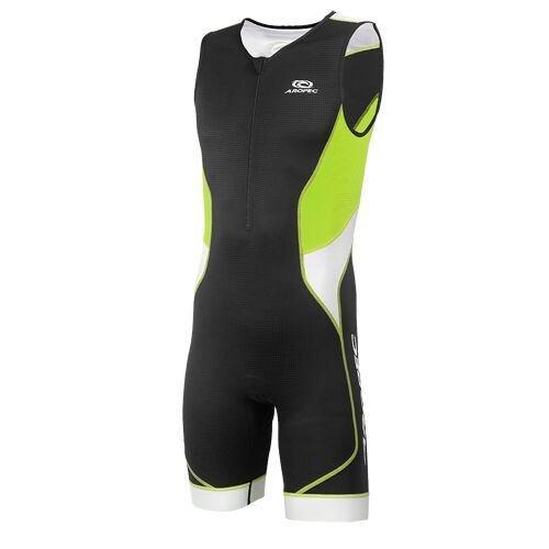Aropec Triathlon Einteiler Tri-Compress Herren - Trisuit Men, Größe:XL, Farbe:schwarz/grün