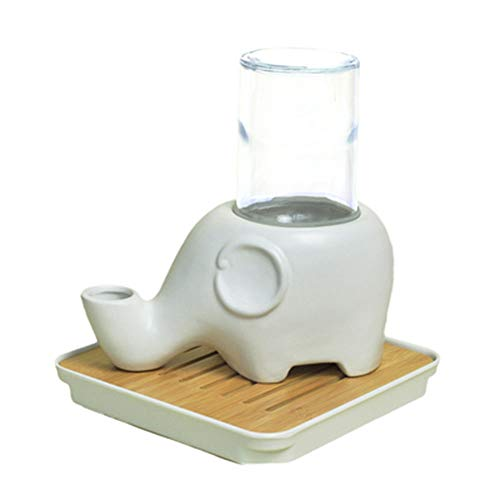 Non-Wet Mouth Keramik Glas Tasse Elefant Form Pet Drinker mit Holztablett Katze Hund kleine Hamster Chinchillas Home Mini Trinkbecken