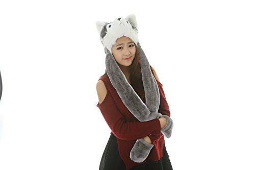 25 Arten Cartoon Plüsch Tier Hüte mit Schals Handschuhe Handschuhe Leistung Requisiten (gray ()