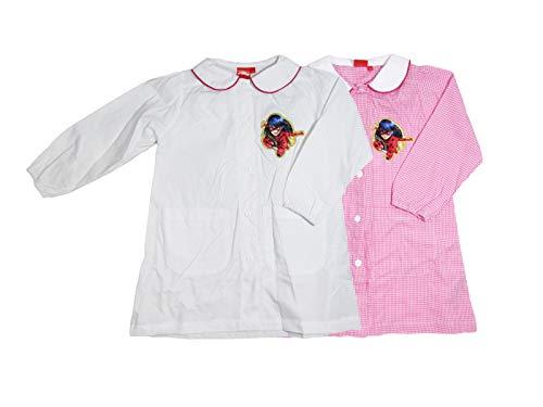 Sun city grembiule asilo bambina lady bug, rosa/bianco con tasche laterali - 6071 (5 anni - 110 cm, bianco)