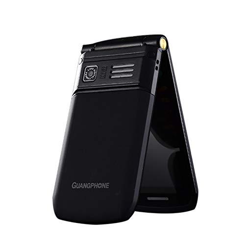 Flip Alten Mann Handy, E9 Dual-Screen-Dual-SIM-Karte Lange Standby-FM Senior Phone Flip-Handy 3-4 Stunden Sprechzeit für alte Menschen (Schwarz)