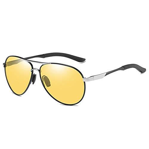 KYS Aviator Polarisierte Sonnenbrille Photochromic Metal Frame Ultraleichte Blendung Nacht Fahren Golf Radfahren Angeln Sport Brillen UV400 Schutz Unisex (Color : Black)