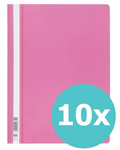 ELBA 100742143 Schnellhefter A4 10er Pack aus Kunststoff für ca. 160 DIN A4-Blätter in pink
