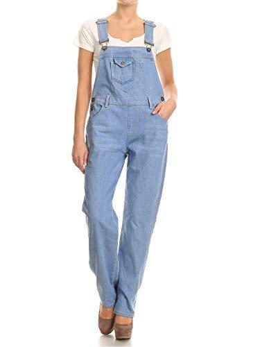 Minion Frauen Kostüm - Anna-Kaci Frauen-Denim Blue Jeans Gerades Bein Taschen Latzhose