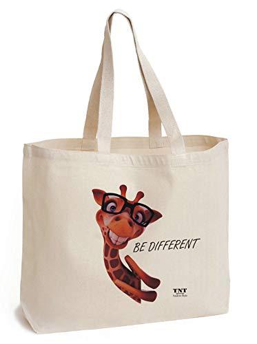 Print Canvas Shopper (TNT Positive Style Baumwolltasche mit Boden - Tasche Canvas - einzigartige Giraffe Print - Shopper Tasche - Feste 195 g/m2 Baumwolle - Lange Henkel - Baumwolle Einkaufstasche 45x42x8cm)