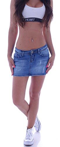 Sexy Damenrock Jeans Minirock Mini Rock Jeansrock Gogo Damenrock Leder-OptikXL/42 (XL 42) (M 38)