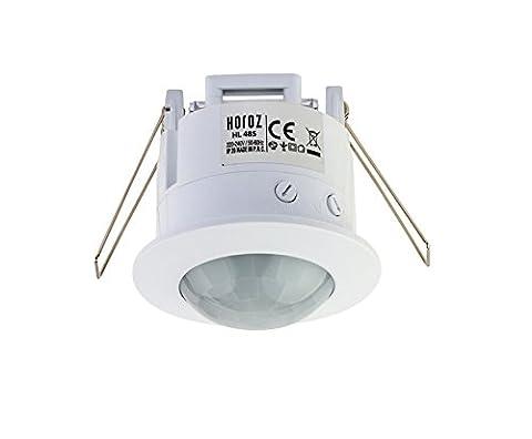 Mini Klein Unterputz Einbau Bewegungsmelder Bewegungssensor 360° sensor Infrarot mit Dämmerungsregler für Innenbeich 360° -LED