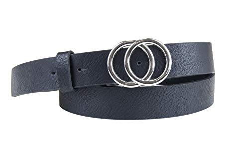 irisaa Schmaler Damen Gürtel mit runder Metallschnalle zwei Ringen, 2,8 cm breit und 0,4 cm stark, Länge:80, Farbe:schwarz new look