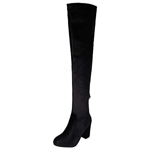 Damen Stiefel Stretch Blockabsatz Schuhe Hohe Stiefeletten Hohe Stiefel Overknees Stiefel,Black-EU:42=11B(M) US