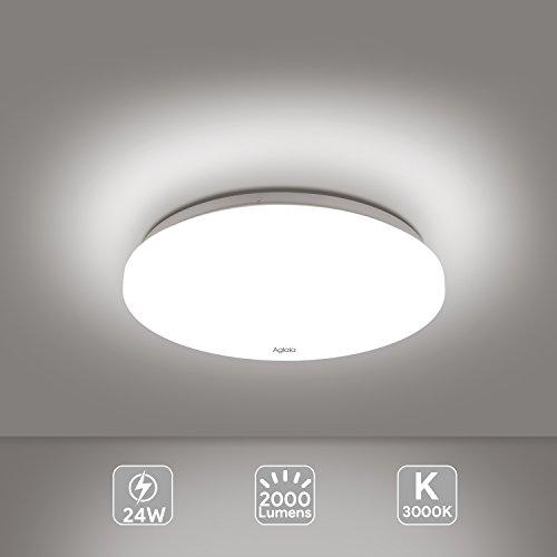 24W Plafonnier LED Lampe de plafond 12-Inch 2000 Lumens 3000K Warm White Aglaia la lampe de bâti affleurante pour la salle de bains, cuisine, salon