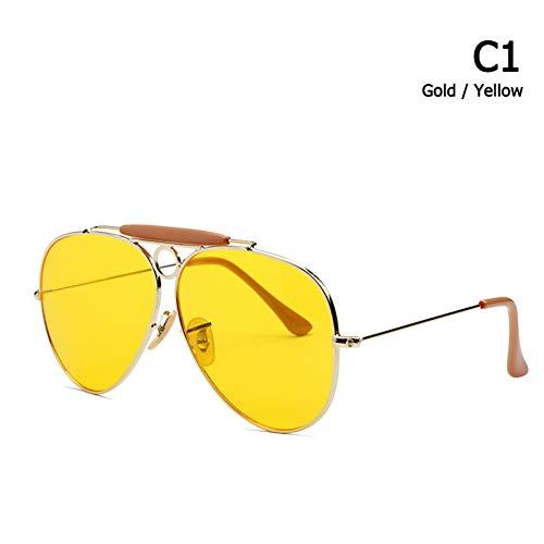 CHJKMN Mode-Stil Vintage Aviation Sonnenbrille Metall Kreis Sonnenbrille