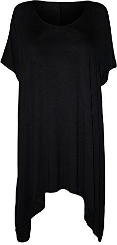 WearAll - Damen Übergröße Elastisch Einfarbig Zipfelsaum Rundhalsausschnitt Kurzarm T-Shirt Top - Schwarz - 52-54 -