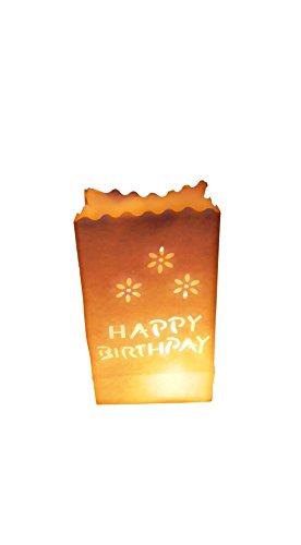 httüten weiß Lichtertüten Happy Birthday Geburtstag für Teelichter Kerzen ()