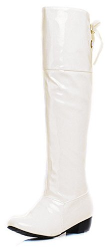 Lackleder Weiße Stiefel (Aisun Damen Lack Kunstleder Runde Zehen Schnürung Schleife Blockabsatz Langschaft Overknee Stiefel Weiß 41)