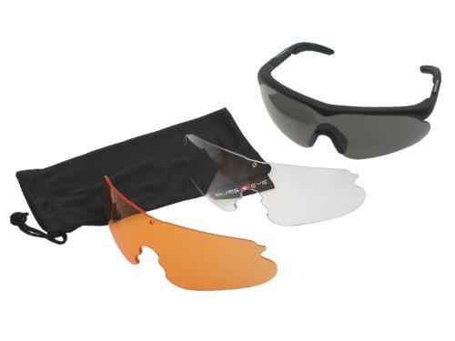 Preisvergleich Produktbild SWISS EYE Raptor Schutzbrille, Fassung -rubber black-, 3 Gläser, mit Antifog/Antiscratch [10161]