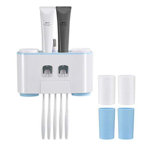 Awinker Automático Dispensador de Pasta de Dientes Tiene Cabida para 5 Cepillos de Dientes y Varios Tubos de Pasta de Dientes (Azul)