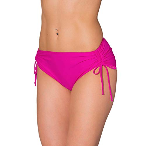 Aquarti Damen Bikinihose mit Raffung und Schnüren, Farbe: Pink, Größe: 36 (Bikini-höschen)