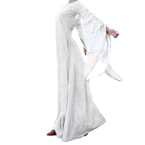 Writtian Damen Spukhaus Stil Bodenlanges Kleid Halloween Kürbis Teufel Rundhals Individualitäl Cosplay Kostüm Mittelalter Vintage - Einfache Last Minute Cosplay Kostüm