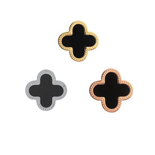 RicVanMur Charm NOIR / Black Flower Clover - passend für Charmband / Mesh Armband (Rosé Gold) (Van Armband Cleef)