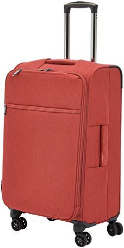 AmazonBasics - Maleta con ruedas flexible acolchada Belltown, 68 cm, Rojo
