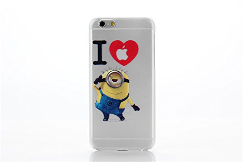 iCHOOSE Caractère Minions Cartoon Flexible Silicone Protection Coque Housse pour Apple iPhone 5 5S / Inclut un protecteur d'écran & Cloth / Saisir J'adore