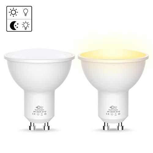 Luohaoshi Dusk to Dawn GU10 LED Lampen, 5W LED Leuchtmittel, Ersatz für 40W Halogenlampe, Warmweiß 3000K, 450LM, 120°Abstrahlwinke LED Birne, Auto ON/OFF bei in die Dawn/Dusk, Nicht dimmbar, 2er