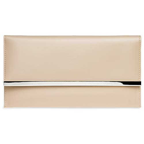 Caspar ta405 donna pochette a busta piccola con catena , colore:nude;dimensioni:one size