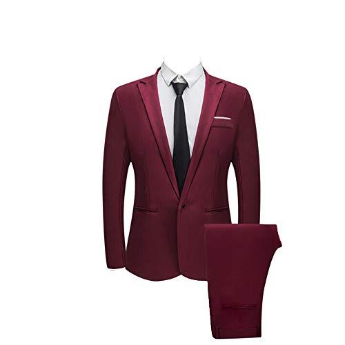 Navy Zwei-knopf-blazer-jacke (Battnot Herren Anzug 2 Teiliger Set Slim Fit Klassisch Business Mantel&Hose, Männer Blazer für Hochzeit und Party Casual Schlanker Einzelne-Knopf-Hochzeitsfest-Kleid Jacke Suit Regular Fit Mens Top)