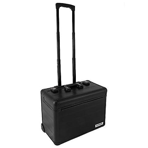 Pilotenkoffer Reisekoffer Reisetrolley Laptopfach Trolley Aluminium - Schwarz