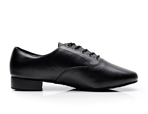 Minitoo QJ9013 Men's Lace up Leder Ballroom Latein Tanzschuhe Schwarz