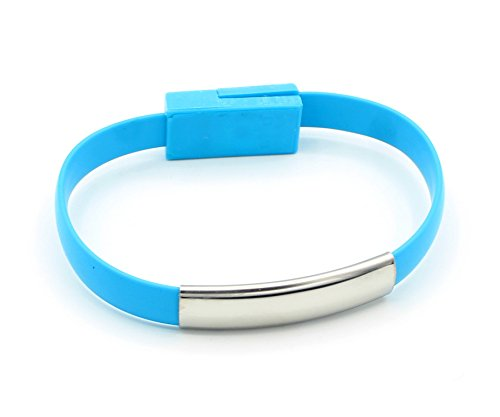 Ipod Nano 3. Armband (LoongGate Armband Stil USB Blitz Ladekabel - Mode Wohnung USB Handgelenk Band Kabel für iPhone X 8 7 Plus 6 S 6 SE 5 S 5C 5, iPad 2 3 4 Mini Air Pro, iPod Nano 7 (Blau))