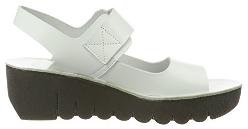 FLY London Yail907, Sandales Bout Ouvert Femme Blanc Cassé (Off White 008)