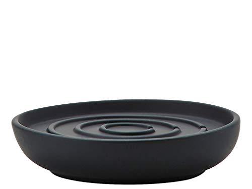 Design-porzellan Seifenschale (Zone Denmark, Nova Seifenschale/Seifenhalter/Seifenablage, Porzellan mit Soft Touch-Beschichtung, schwarz)