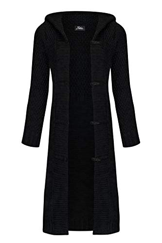 Mikos* Damen Cardigan Wolle Strickjacke mit Kapuze Long Lang Pulli Pullover Herbs Winter Beige Grau Schwarz S M L XL 36 38 40 42 (988) (Schwarz, L)