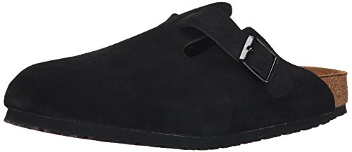 BIRKENSTOCK Unisex Boston Weich Fußbett Verstopfen, schwarz - Schwarze Velourslederoptik - Größe: 46-46,5 EU B(N) Herren