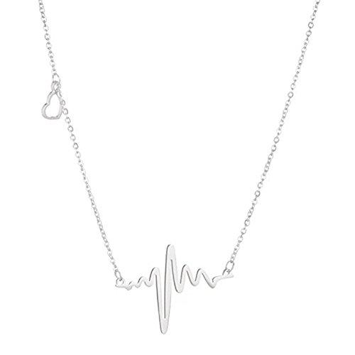 HCFKJ Nuovo Elettrocardiogramma Donna Ritmo Battito Cardiaco Con Amore A Forma Di Cuore (argento)