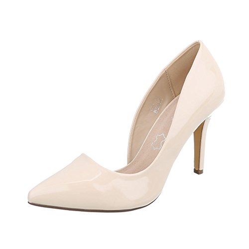 Ital-Design High Heel Pumps Damen-Schuhe High Heel Pumps Pfennig-/Stilettoabsatz High Heels Pumps Beige, Gr 36, C26-1-