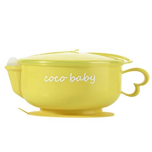 1 Satz Kinder Isolierung Saug Schüssel-Edelstahl-Nonslip Feeding Training Schüssel Mit Löffel (Edelstahl Saug-schüssel)